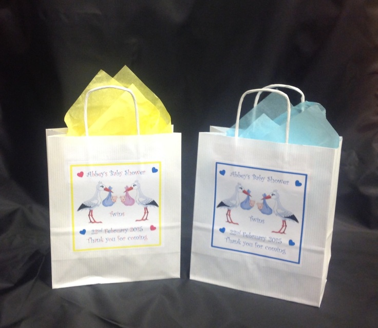 personalised baby shower favour gift bags